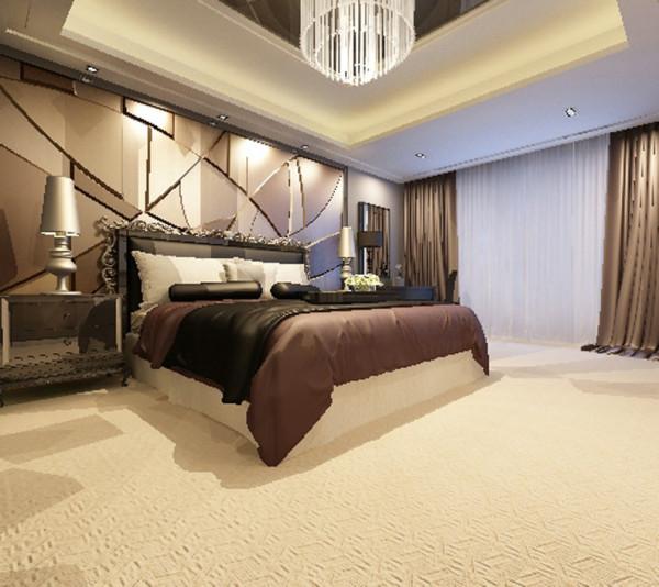 设计理念:软包的背景墙,可以提高档次,用暖色调,让人以舒适的感觉。 亮点:床头背景用木块和镜面镶嵌组合而成,设计感十足,也会使房间显得亮堂大气。将现代简约风格展示得淋淋尽致。