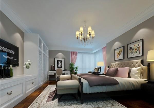 亮点:本色无装饰墙面诉说着业主典雅的情怀,低纯度粉色提升空间的浪漫感,使得卧室基调与客厅在高度和谐统一的基础上增添许多浪漫情怀,好似中世纪高贵优雅的氛围中反射出现代派的激情。