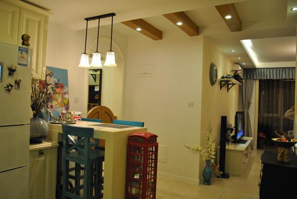 朝阳金蝉南里小区,52平米一居地中海风格设计案例——餐厅