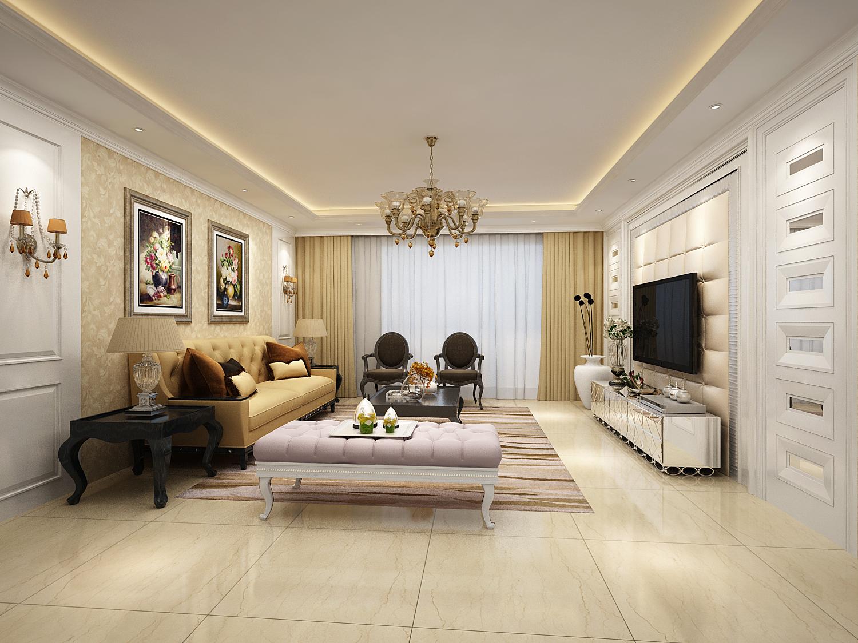 三居欧式简约客厅装修效果图片_装修美图-新浪家居