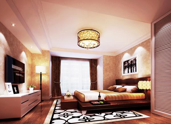 设计理念:卧室空间,在具备了功能性,储藏性的基础上。用和谐的色彩搭配,让整个空间更具温馨、舒适,饰品的点缀更好的突显了业主的独特品味。亮点:在功能性齐全的基础上,更加突出了卧室的舒适性和温馨感。