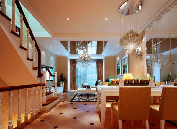 明快的色彩搭配,棱镜餐厅背景墙更有质感,明亮。设计理念:餐厅位置,更好协调了客厅空间与厨房的空间关系,用大面积棱镜更好空大了餐厅的通透性,也让风格更加明快,时尚,