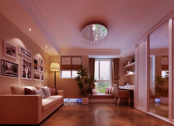 设计理念:客卧通过完美的色彩搭配,感觉更加的明快、温馨。合理的空间划分,让室内功能性更好的得到了体现,照片背景墙用于整体点缀,突出了业主的独特韵味。