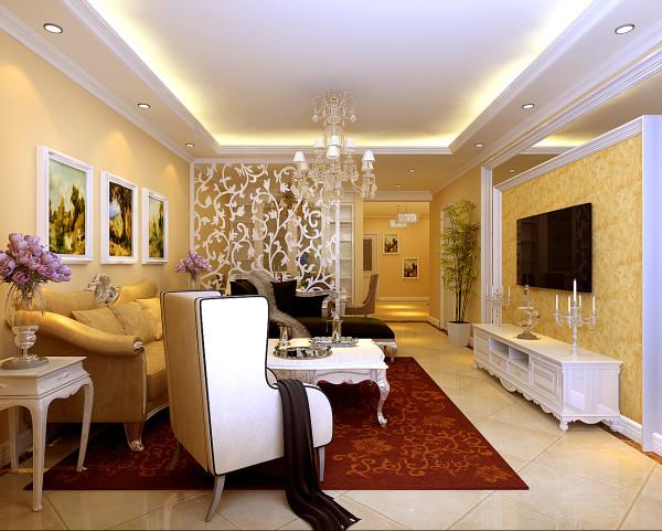 客厅以欧式的线条为装饰,再配以色漆为辅助,搭配白色家居,完美结合在一起。镂空雕花将餐客厅巧妙区分开。