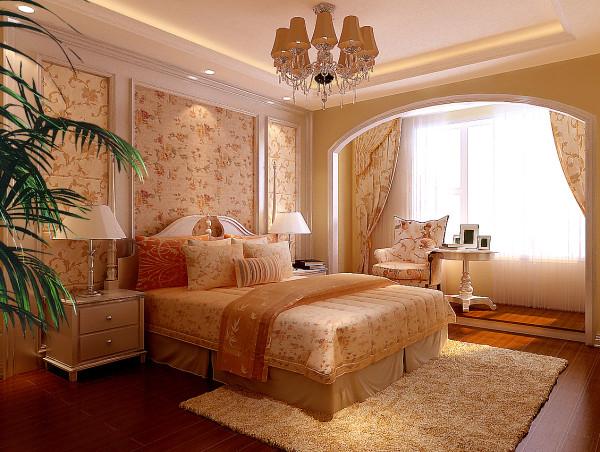 卧室设计中打破了纯欧式设计的观念,将田园的元素融入了欧式风格设计,使整个空间高贵不失典雅。