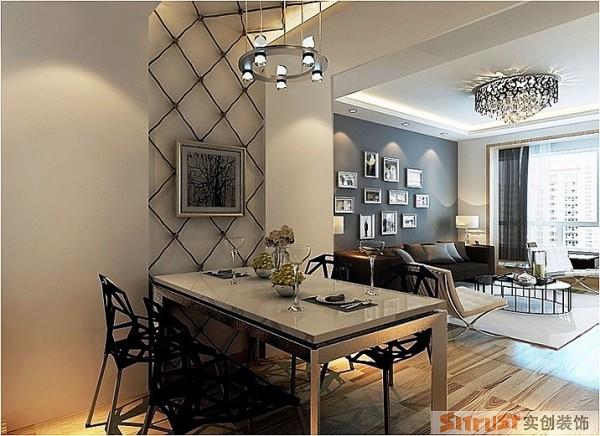 餐厅墙顶面的绳结造型设计,上下贯通很好的呼应了餐桌椅的结构,很随意又很客意,使主人轻松自在的享受美食时光。墙面与餐桌采用乳白色,相同材质的桌椅、画框吊灯等承上启下,连贯统一,干净整洁不失典雅。