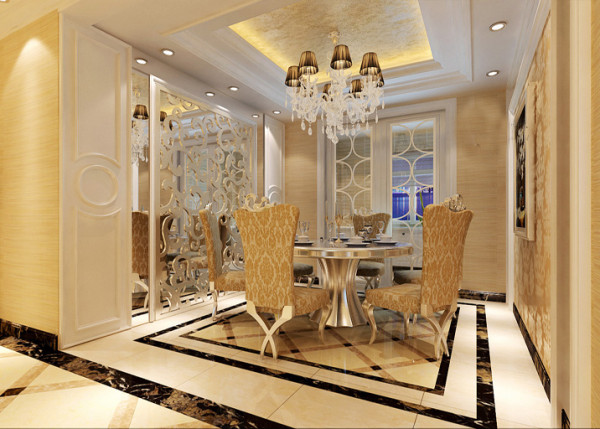餐厅的设计主要是考虑到温馨浪漫,整体选用暖色调,镜面与浮雕结合更能体现欧式风格的元素。