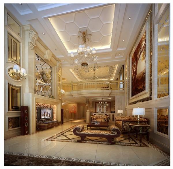 客厅硕大的水晶大吊灯、楼梯间铠金属楼梯扶手、栏杆,以及高档的拼花地砖,大气的沙发、餐桌营造出一种奢华的生活典范,阳光洒遍金属、游弋在这每一个空间,陶醉在这温馨的居所。
