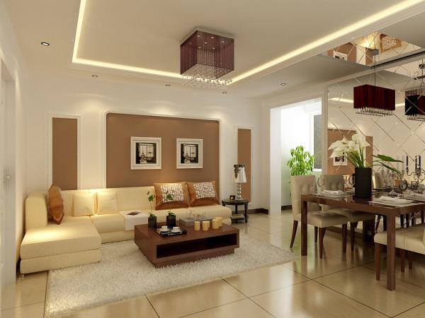 客厅在沙发区域做了一个最简单的石膏线造型,区域划分特别明显,咖啡色也是时下特别流行的颜色,电视背景墙也是最简单的壁纸铺贴,整个客厅用最简单的形式力求打造最时尚的家居