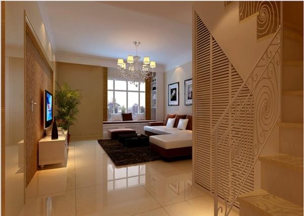 换个角度看客厅,暖黄色的地砖。墙面,很好的营造了家的温馨气氛。楼梯这块空间充分利用,做成墙壁柜,显得干净整洁。