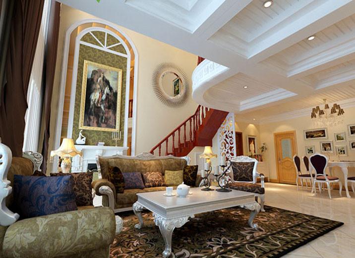 壁炉点缀更显大气高贵,茶色镜子的放射是的屋里显得更加明亮高贵,家具