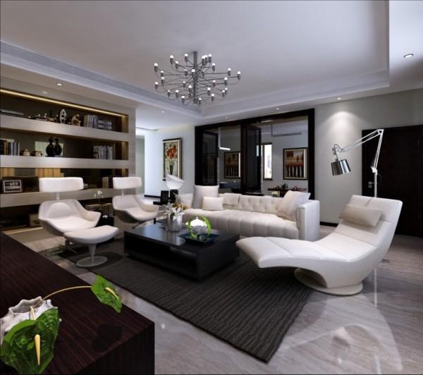尚层别墅装饰 西山壹号院 400平米 现代简约装修风格 客厅家具的线形变直,不再是圆曲的洛可可样式,装饰以青铜饰面采用扇型、叶板、营造出的氛围不仅拥有典雅、端庄的气质,在艺术形式上,强调理性而非感性的表现。