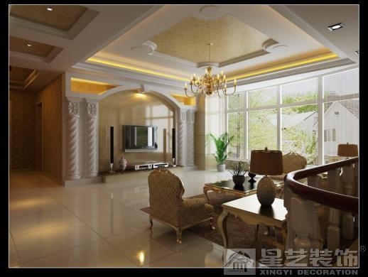 客厅背景墙的设计,运用大理石、透光石、罗马柱等素材,大气之余而略显张扬,配以经 典的欧式墙纸和造型,整个客厅时尚而大气。