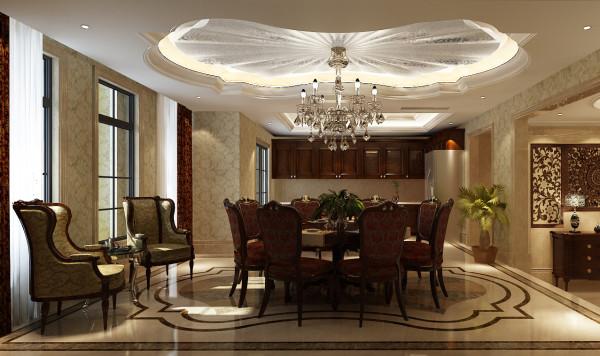 尚层别墅装饰 远洋傲北 550平米 低调的奢华 餐厅,在设计上,经典与现代的元素被完美地结合起来,设计者能够用理性而睿智的态度演绎居住者讲究高品质且简单舒适的生活态度。
