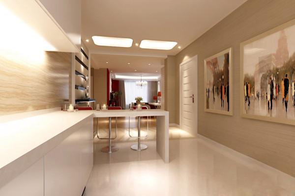 吧台既满足了日常的就餐应用又很好的为客厅和厨房做了区分。