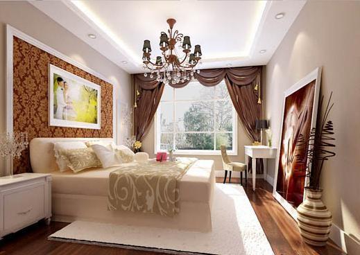 主卧的设计用了镜框线条把床的位置确定在房间的中间,床头背景墙上的婚纱照,是两个人爱情甜蜜的见证。不用过多的配饰,这一切就够了。