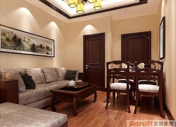 客厅简单的吊顶,配上简约布艺沙发,简约而不简单