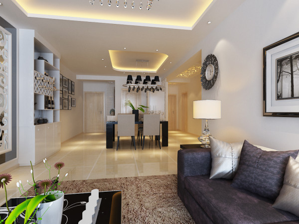 现代简约风格设计-整体客厅效果