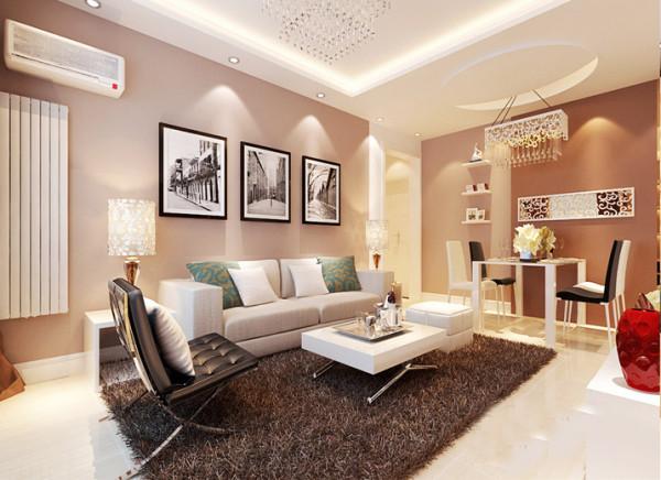 客厅部分主要运用墙漆突显整个空间的温馨感,用深咖色浅咖色两种颜色来拉伸客厅空间的感。简单的线条勾勒出不简单的效果。