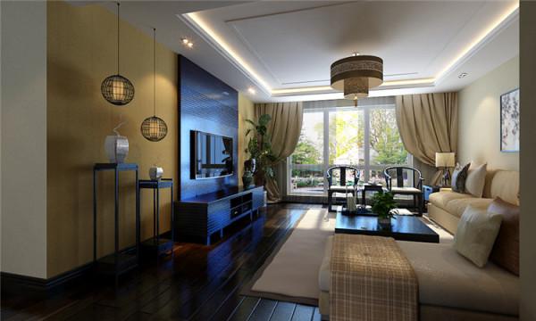 新中式风格-客厅点数背景墙设计效果