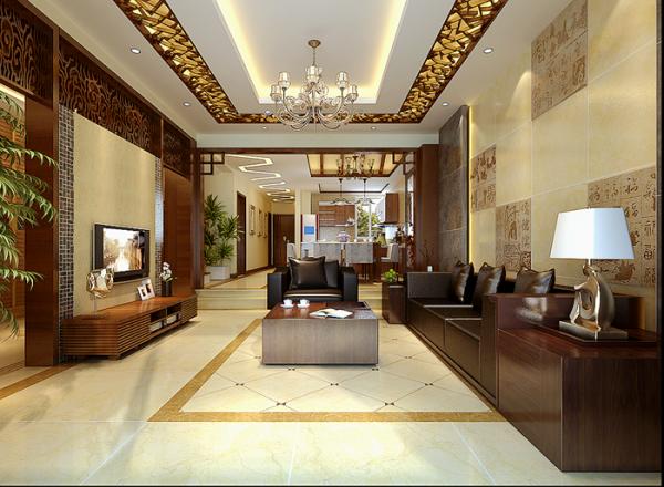 中式文化融入现代简洁的线条中,黑色的皮沙发配以红酸枝屏风,高档大气而具有文虎内涵