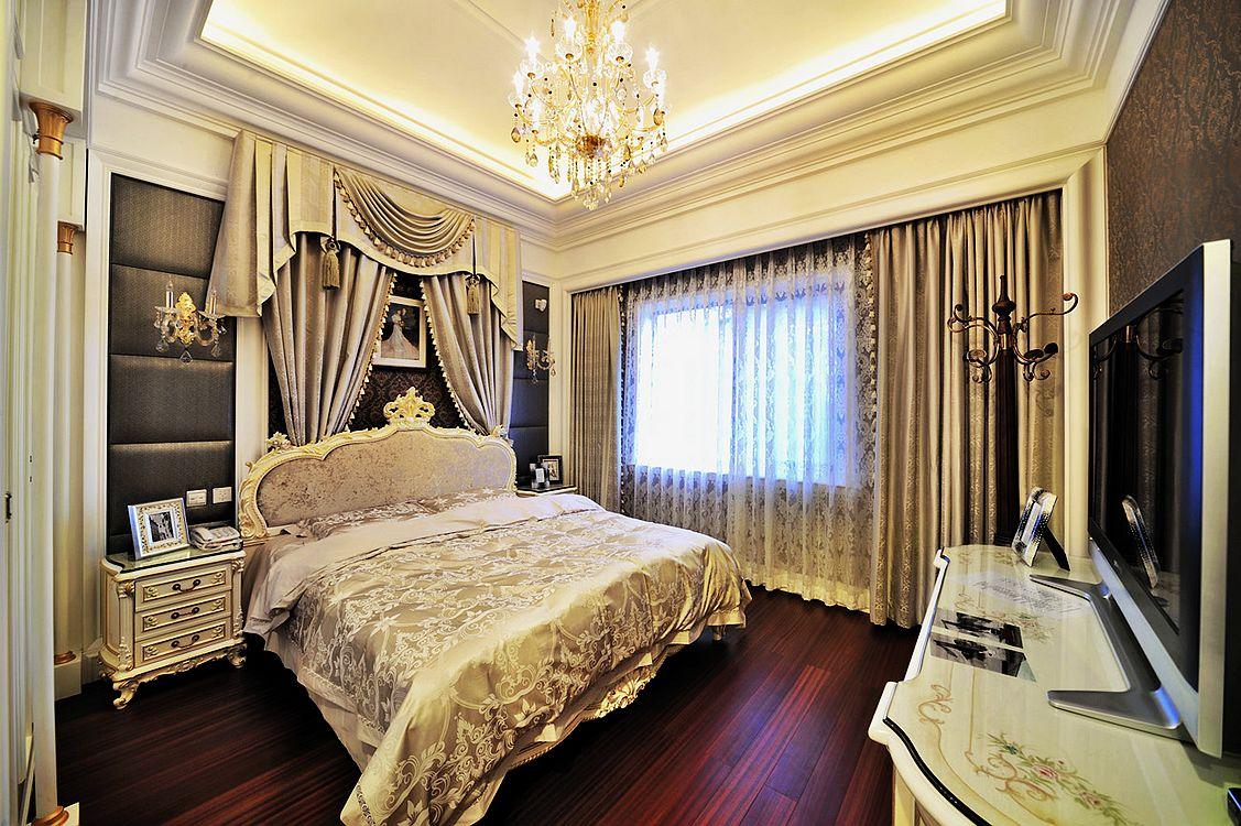 欧式美式混搭别墅土豪卧室装修效果图片_装修美图