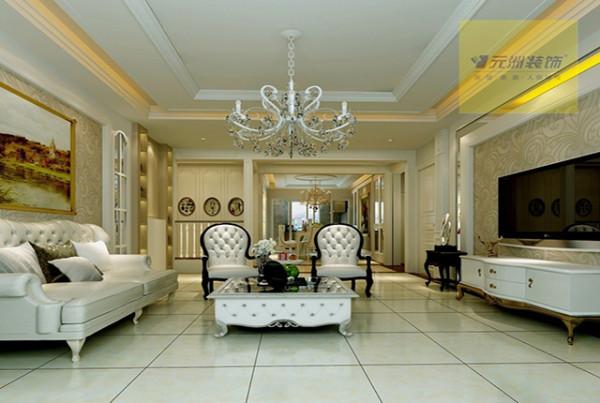 客厅镜子背景与墙面的处理与壁纸的结合让空间显得大气十足。