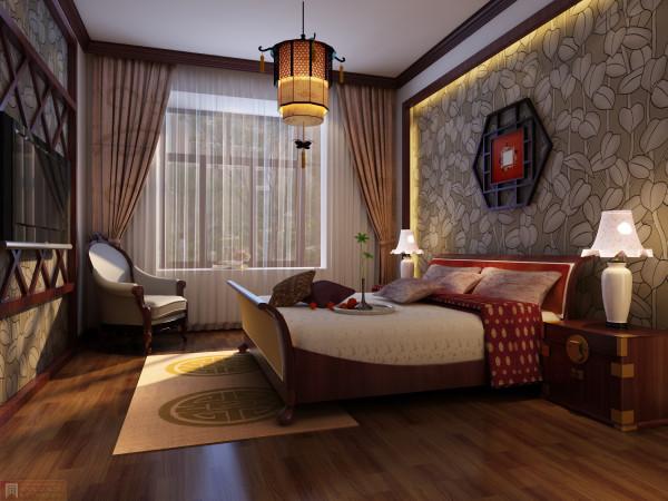 卧室:床头柜的古典气息与墙壁饰品让中式更加的渲染整个空间
