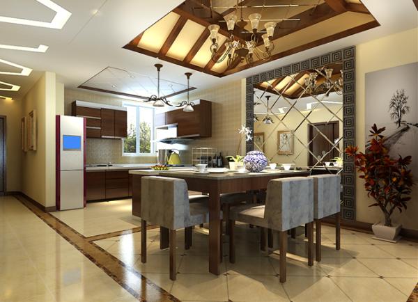 美式吊灯与中式花艺,现代家具的配合,不突兀反而显舒适