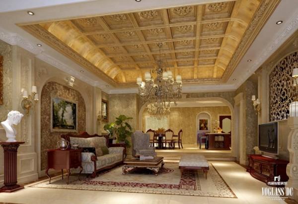 在设计中运用传统美学法则,利用现代材料将结构造型和室内设计造型以一种全新的方式营造出规整、端庄、典雅、有高贵感的装饰效果。