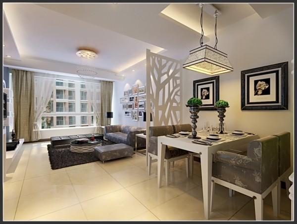 现代简约设计风格-餐厅客厅整体效果