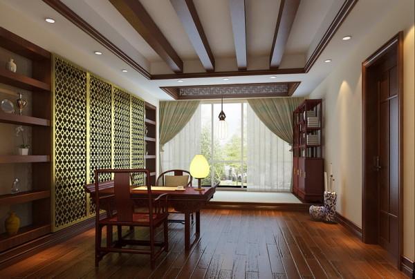 书房红木色的家具、地板,沉稳大气;大落地窗增强了空间的光线感。