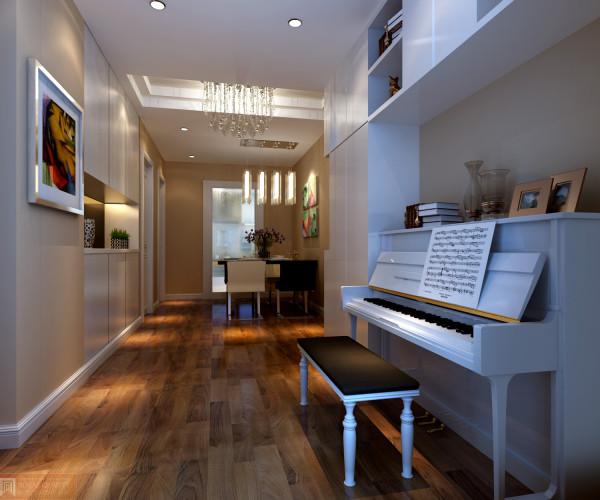 餐厅与练习钢琴开通,让整体空间更宽阔