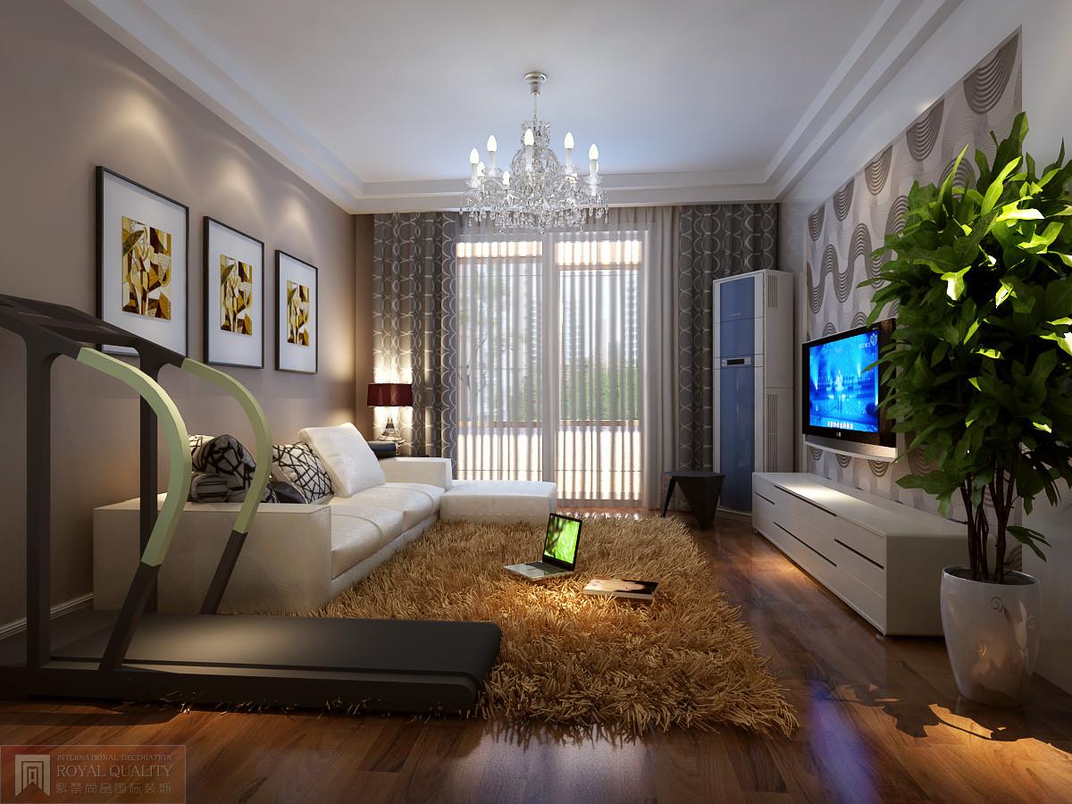 客厅里放一台跑步机,边运动边看电视
