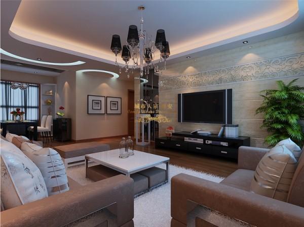 电视墙米色石材,墙面也是淡淡的米色,整体感觉简单大方。