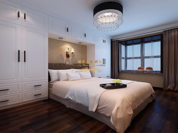 老人房的设计和其他几个卧室稍有区别,由于老人不喜欢吹空调所以房子里没有设计空调的位置,地板颜色喜欢深色的,老人东西比较多床头正面墙也定做了成平衣柜。