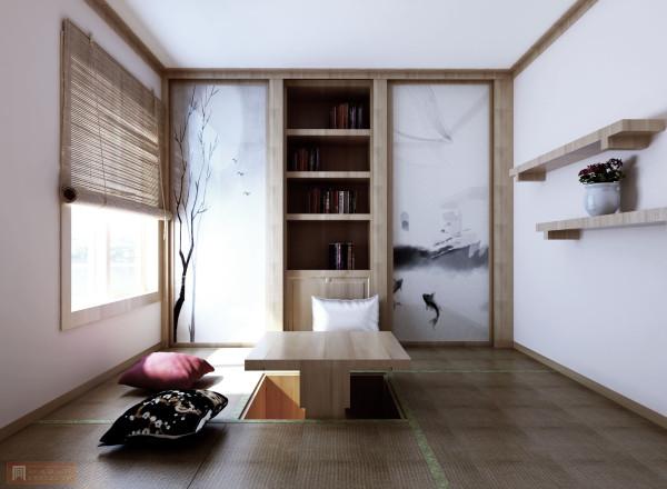 用榻榻米的型式来打造书房 独密的空间