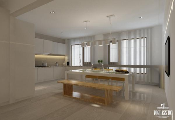竖向的百叶帘,白色的橱柜,木质的凳椅,让厨餐区变得干净、利索、健康。简洁的风格、不同的材料,充分挖掘材料本质的美感。