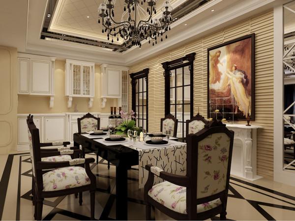餐厅镜面装饰更增强了空间感。乳白色、金黄色的家具墙面配饰,使得整个空间奢华大气。碎花餐桌椅增添了田园清新之感。