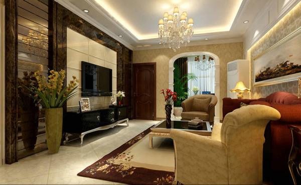 客厅以大气、奢华为主基调。电视背景墙用石材和茶色车边境搭配,华丽、高雅的感觉展现在眼前。搭配墙面米色暗花的欧式典型壁纸和造型吊顶,客厅空间的高雅气息以及主人的尊贵身份便体现的淋漓尽致。