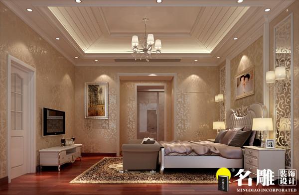 主卧是主人休息的休闲空间,运用典型的欧式简约的床头背景简约而不单调,结合清爽脱俗的壁纸遥相呼应,使一切看起来那么的唯美,华美的欧式大床与精致的吊灯完美的搭配,更烘托于整个房间的舒适、典雅气质。