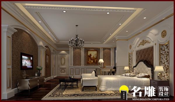 名雕装饰设计:负一层卧室,设计独特,豪华大气又不失经典。