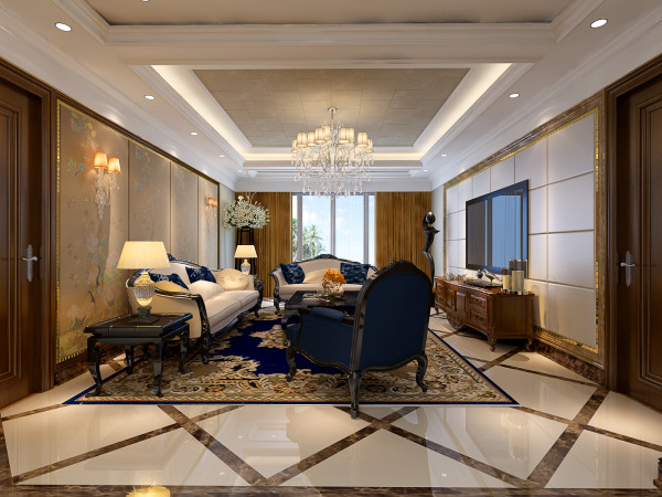 客厅也是以欧式古典的展示