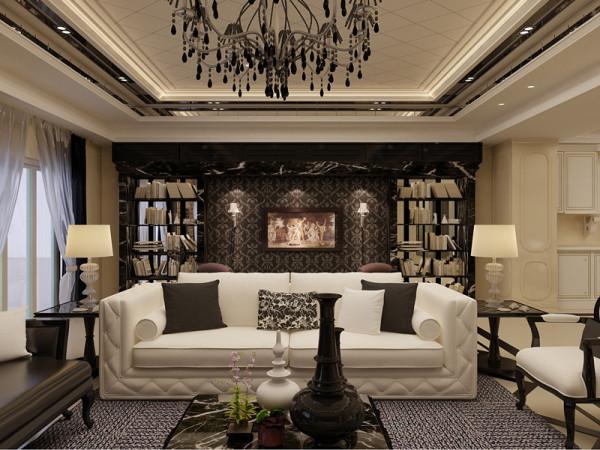 黑白色调的时尚简约元素的使用,沙发背景做成咖色的北京,两面书架的摆放,利用了空间做成了不小的书房区。时尚个性十足。