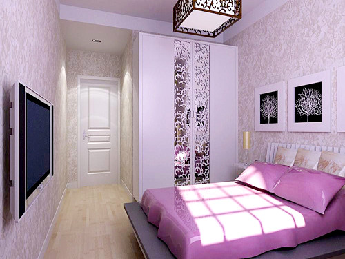 2.主卧室 以紫色乳胶漆墙面为基调不仅提升空间亮度,又营造了简单而又清爽的氛围。把自己喜欢的东西合理的陈列在小小的空间中让简约成为精心的创造。