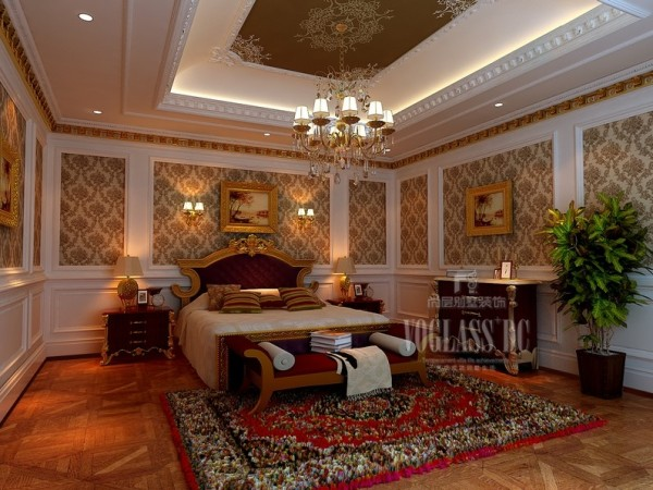 这张是男孩房的设计,依然采用的是华贵的风格,整体彰显出居者的身份与地位!