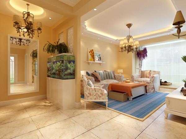 欧式田园风格-玄关客厅设计效果