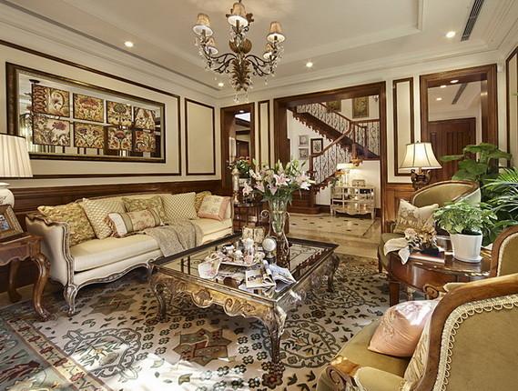 君山高尔夫别墅400平米美式风格 客厅设计