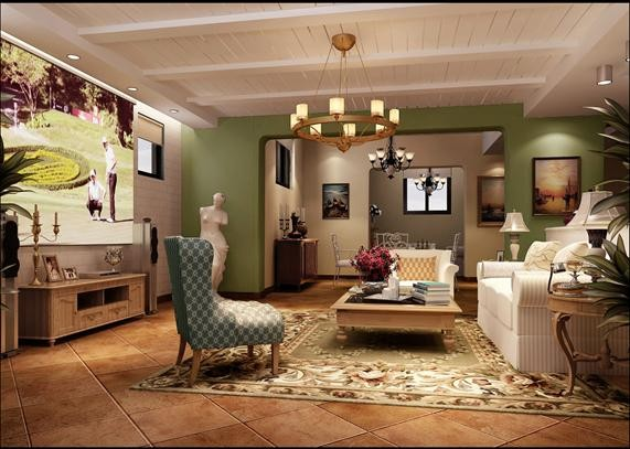 客厅、餐厅地面采用两款深浅不同的仿古砖,以及通过顶面的变化形成空间区域划分,增加了空间层次感。房间墙面的淡黄色让整个空间显得清新自然。