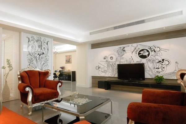 香山清琴 客厅 沙发 电视背景墙